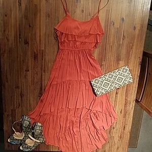 Women's burnt orange high-low ruffle dress